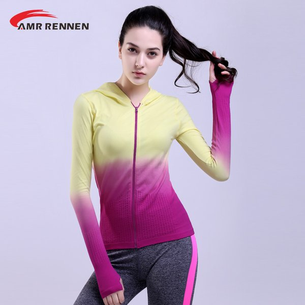 AMR Women Full Zip Full Sleeve Seamless Running Jacket Breathable Quick-drying Workout Jacket Fitness GYM Sports Coat