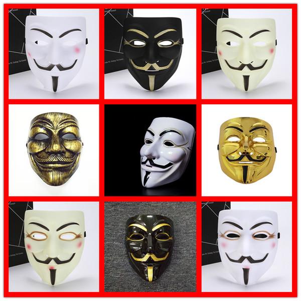 Compre Nueva Mascara V Vendetta Blanco Amarillo Mascara Anonimo