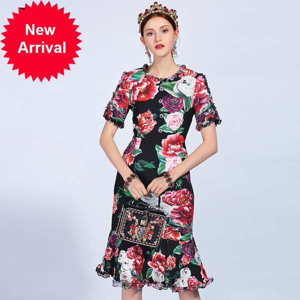 2018 Runway Fashion Summer Dress Women's Short Sleeve Vintage Ruffles Floral Print Sexy Mermaid Party Dresses