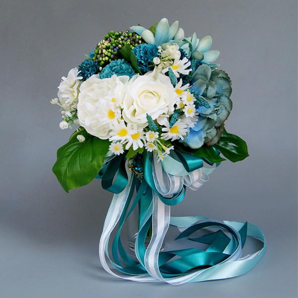 blue wedding theme decoration Luxurious blue wedding bouquet artificial bouquet elegant bride accessories bride flowers