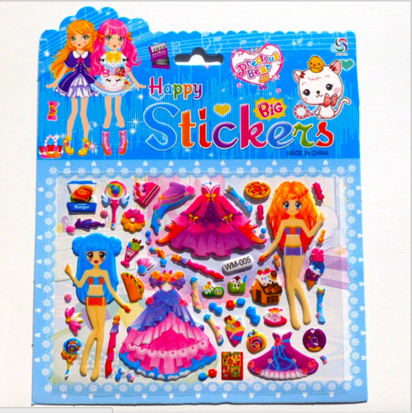 Princess dressing 20pcs/lot Fashion Beautiful Large DIY sticker toys children's educational toys 3D Handmade Decorative stickers