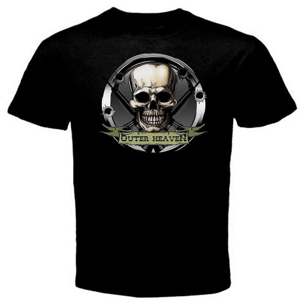 Outer Heaven Metal Gear online Game T-Shirt Black Basic Tee Summer Short Sleeves Cotton Fashiont Shirt Print T Shirt Mens
