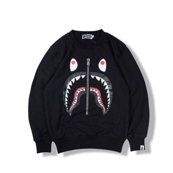 Top Designer Shark Head Print Zipper Men Pullover Sweatshirts Hip Hop Long Sleeve High Quaility Couple Hoodies