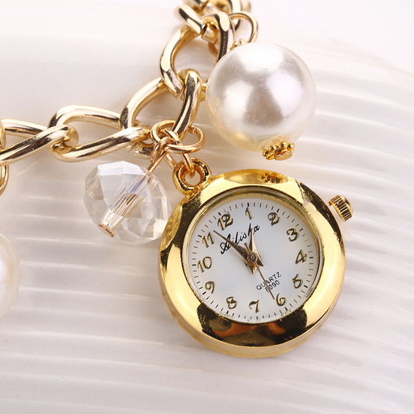 Charm Gold Chain Bracelets Bangles For Women Ladies Elegant Simulated Pearls Wrist Watch Bracelets Quartz Fashion Jewelry Gifts