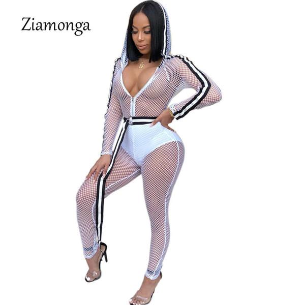 Ziamonga Sexy Sheer Mesh Jumpsuit Frauen Aushöhlen Langarm Durchsichtig Clubwear Party Bodycon Overalls Overalls