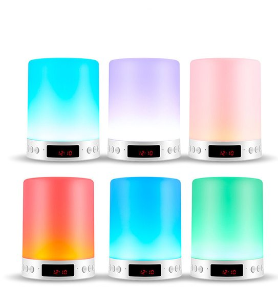 Portable Bluetooth Speaker LED Colorful Lamp Night Lamp Warm Light Show Clock Wireless Stereo Touch Sound speaker Hands-free Table Lamp