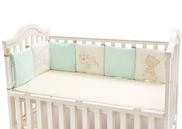 best selling 100% cotton crib bumpers for baby Embroidered Bear soft pad children protection each piece 30*30cm free combination toddler bedding set