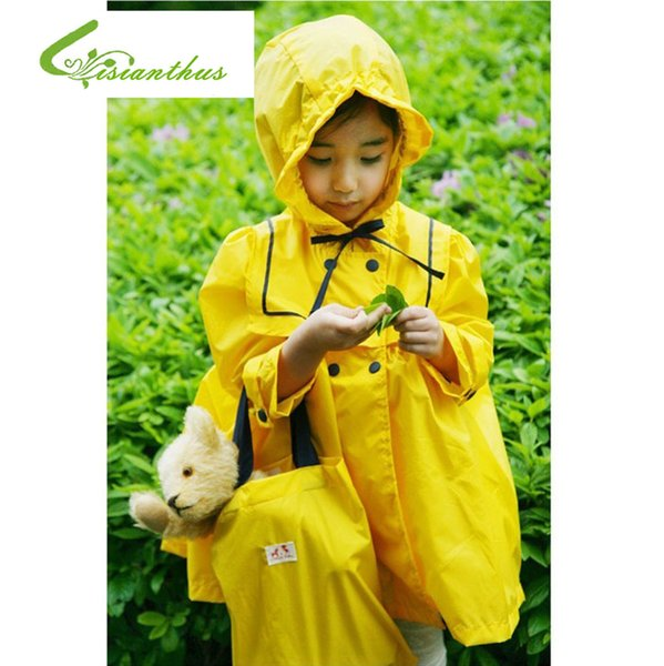 Children Raincoat 2017Fashion Impermeable Real Children Rainwear Hiking Raincoat Child Fashion Rain Coat Baby Yellow Rose