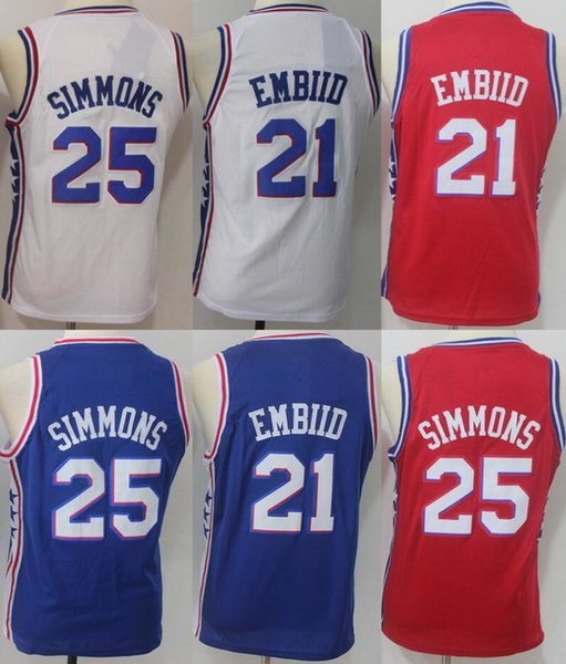 low priced a3366 723f8 2018 Best Quality 21 Joel Embiid 25 Ben Simmons Philadelphia Jersey 76ers  20 Markelle Fultz 2017 18 Youth Basketball Jerseys From Mengtingjersey6, ...