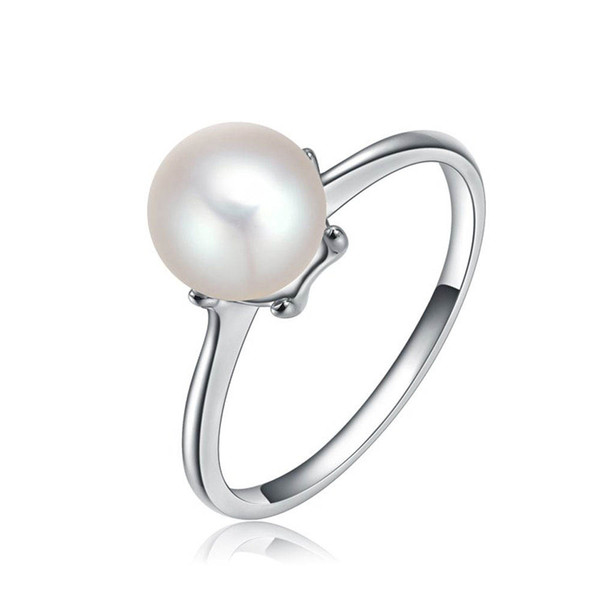 whole saleOriginal Silver Color Simulate Pearl Ring With White Cultured Pearl Authentic Cultured Elegance Ring Jewelry