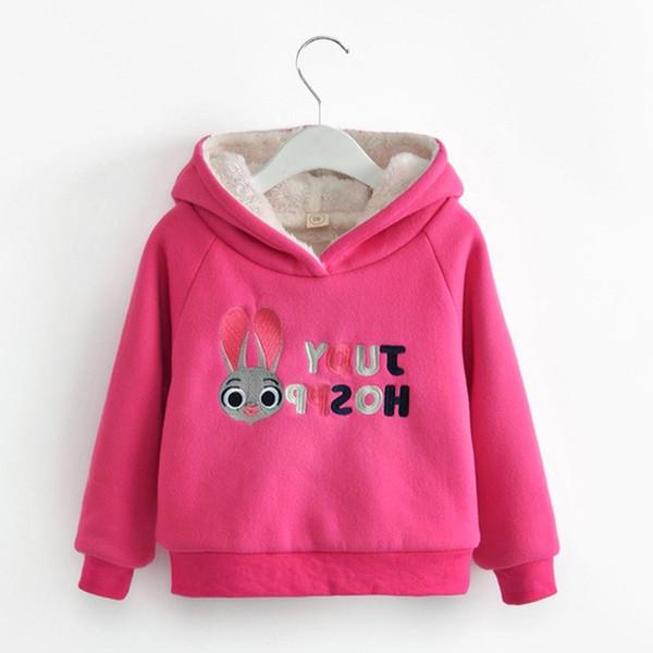 Filles Sweat Épais Chaud Hiver Enfants Hoodies 2018 Nouvelle Bande Dessinée Oreille De Lapin Enfants Tops Vêtements Coton Rembourré Enfants Vêtements