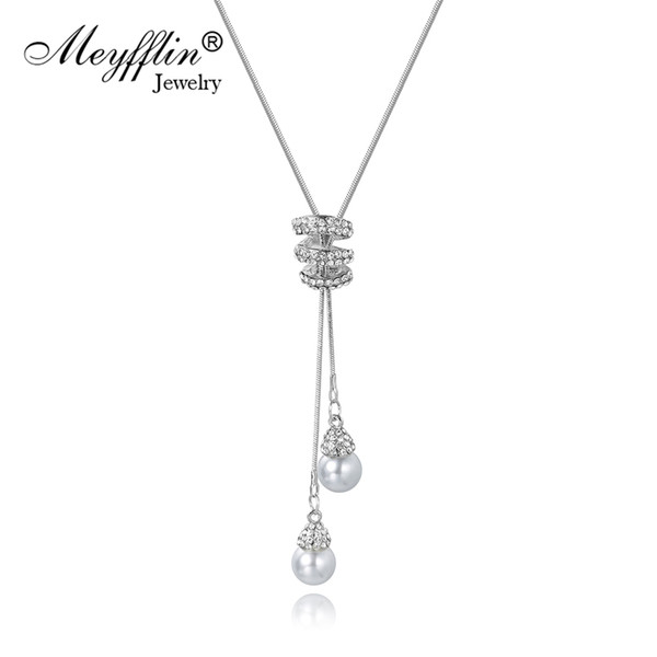 Meyfflin Collier Femme Long Necklaces for Women Fashion Simulated Pearl Crystal Necklace Pendant Jewelry Silver Chain Bijoux