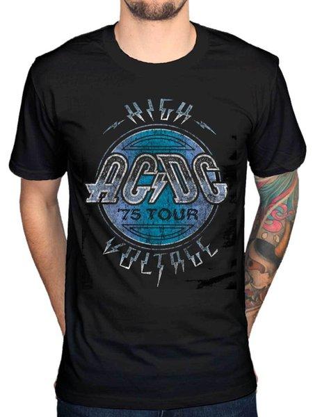 Официальный AC/DC высокого напряжения 1975 тур футболка хард-рок группа Брайан Джонсон O-образным вырезом футболка топ Tee Basic