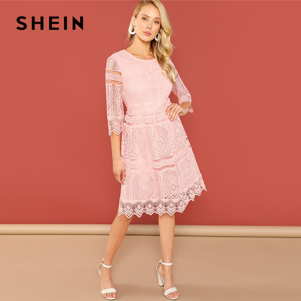 278947b22a SHEIN Pink Lace Eyelet Solid Dress Casual 3/4 Sleeve Round Neck Knee Length  Fit