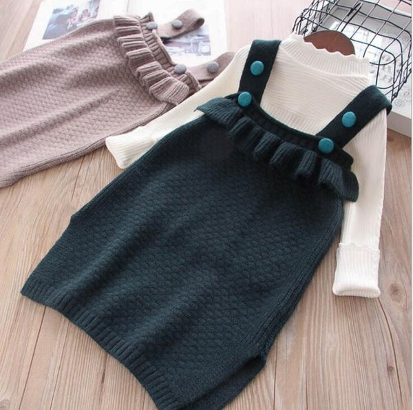 b2a1c139bc597 2018 New Children Baby Fall Ruffles Vest Sweater Dress Princess Cute  Knitting Pullovers Wholesale Childrens Sweaters Sweater Patterns For Boys  From ...