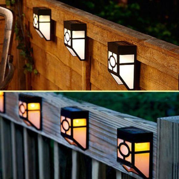 4pcs-pack montage mural 2-led mission style solaire pont accent froid chaud blanc pour la lumière extérieure paysage jardin maison maison clôture lampe