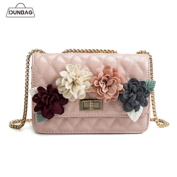 3D цветочный цветок решетки алмаза Маленькие женщины сумки посыльного случайные плеча Crossbody сумки цепи женщины искусственная кожа сумки Bolsa