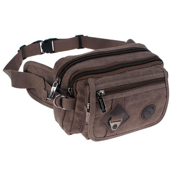 Chu JJ High Quality Casual Canvas Men Bags Waist Packs Purse Men Portable Vintage Waist Bags Travel Belt Wallets