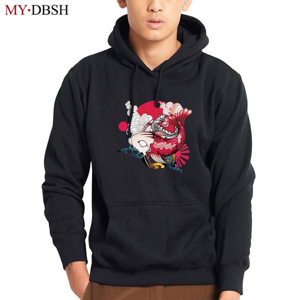 Japan Style Wave Carp Fish Hoodies Sweatshirts Mens Pullover Casual Tracksuits Fashion Streetwear Brand Hoodie Man Coats Outwear