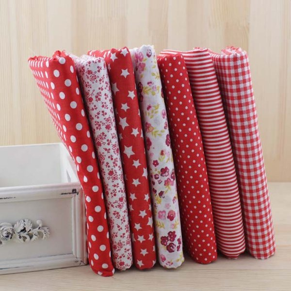 New 7pcs/lot Red Color Sets 100% Cotton 50cm x 50cm Fabric For DIY Fewing Quilting Tissue Textile Doll Cloth