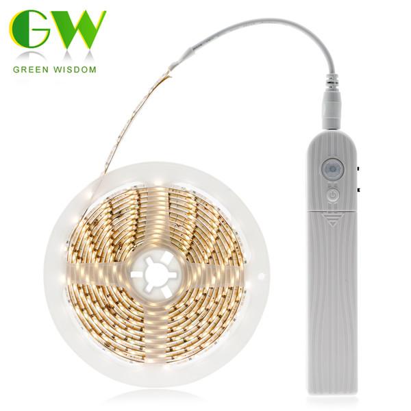 Pir Motion Sensor Switch Led Strip Set 2835 60leds M Under Bed Light Bedroom Night Lights Warm White White Car Led Strips Flexible Led Light Strip