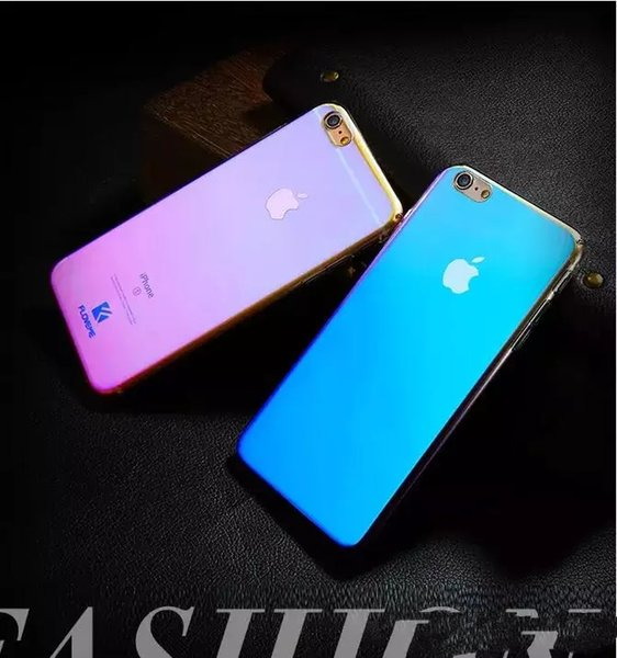 Novo gradiente rígido pc phone case para iphone 6 7 8 plus capa blue ray glitter case para iphone xs xs max xr