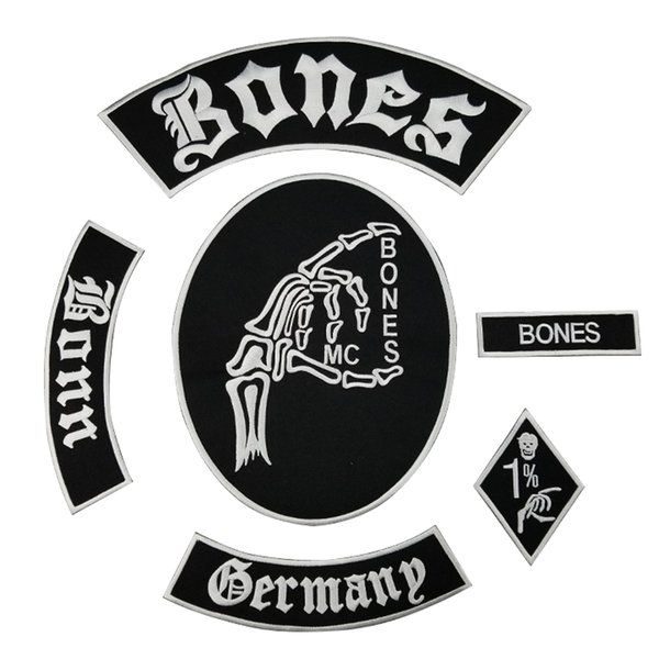 Hot Sale Bone Skull Patch MC Embroidered Full Back Large Pattern For Rocker Club Biker MC Patch Free Shipping
