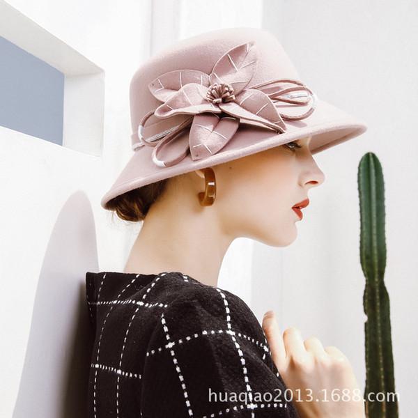 Lady Fedoras Chapéu De Lã Feminino Elegante Cap Meninas De Lã Flor Chapéu Dome Estudantes Lazer Quente Ajustar B8975