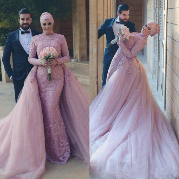 Gorgeous Muslim Long Sleeves Formal Evening Dresses 2018 Pakistan Lace Appliques With Detachable Train Beading Party Prom Gowns