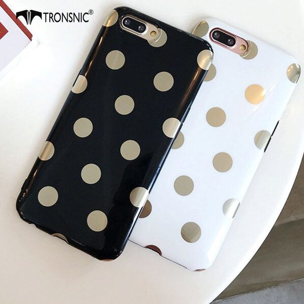 Phone Case for iPhone X XS MAX XR Soft Gold Dots Case for iPhone 6S 6 7 8 Plus White Black Luxury Cover