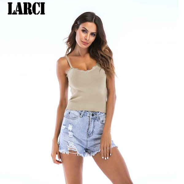 LARCI 2018 New Arrivals Regular Spaghetti Top Bianco Nero Rosa maniche senza maniche Top T-shirt donna 2018 vendita calda Kawaii E5772