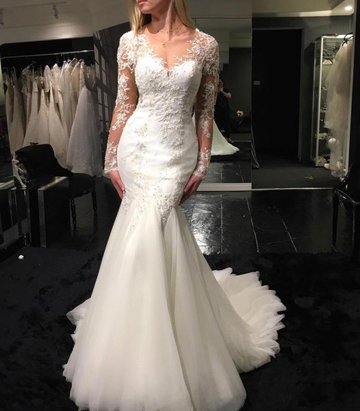 New 2019 Gorgeous Lace Mermaid Wedding Dresses V-Neck Appliques Long Sleeves Plus Size Wedding Dresses Vestido De Novia