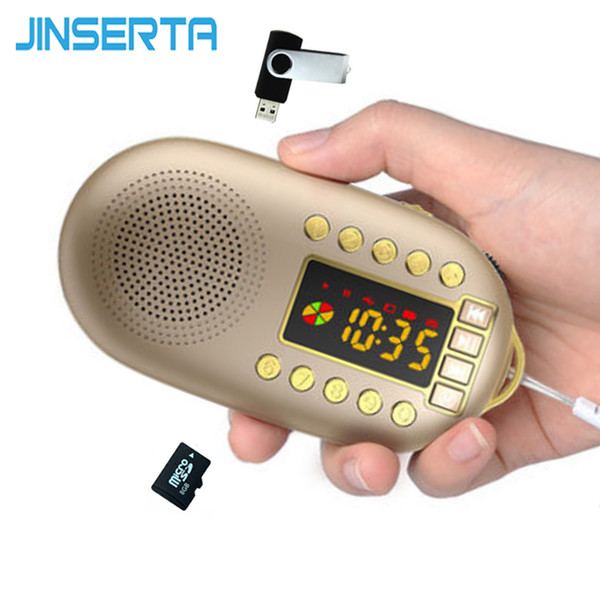 JINSERTA Mini altoparlante radio portatile Mini lettore musicale Bass stereo con supporto per batteria rimovibile TF Card / U Disk Play