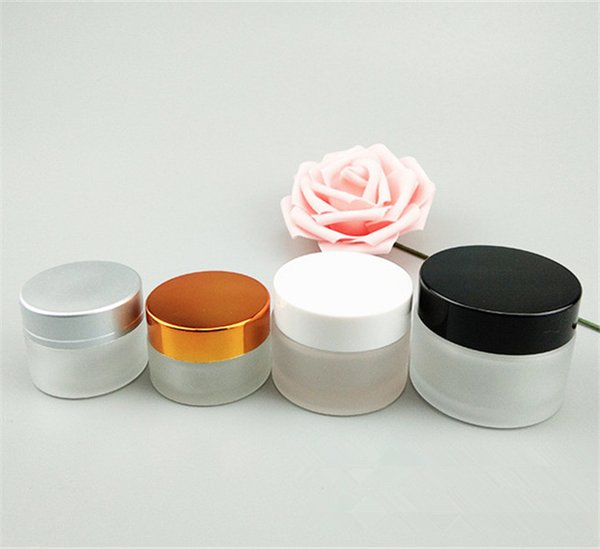DHgate assurance 10ml 20ml 30ml 50ml frosted glass cosmetic cream jar, airtight wide mouth cylinder glass candle jar with lid for sale