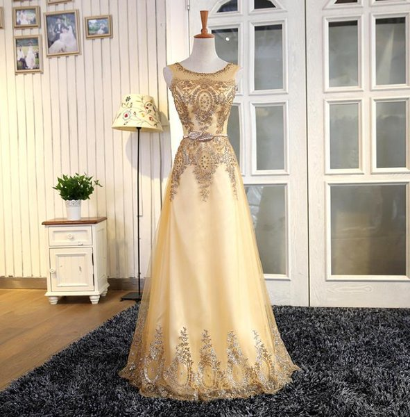 prom dresses Bridal gowns Beading Crystal Pattern Pearls A-Line Sleeveless Floor-Length Chiffon Cap Sleeve Evening Dresses