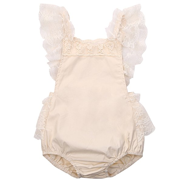 Cute Floral Baby Girls Romper Sleeveless Cotton Lace Ruffle Jumpsuit Body Suit For Newborns 2017 New Bebes Sunsuit Clothes 0-24M
