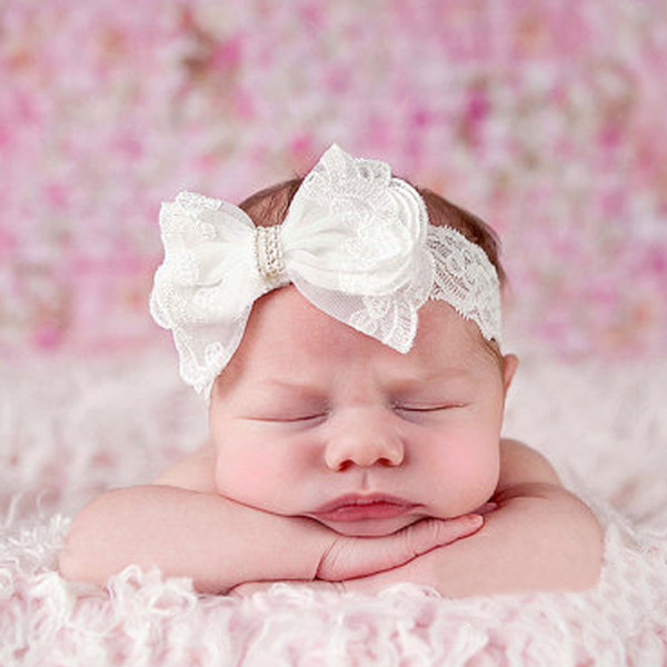 5pcs hair bows Baby Girls Flower Headbands Chiffon beautiful Flower Elastic For Baby Hair Accessories Headwear HC114
