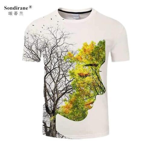 Sondirane Beauty 3D Print Men Women T Shirt Summer Tree T-shirt Funny Tee Short Sleeve Breathable T Shirt Quick Dry Tops Clothes