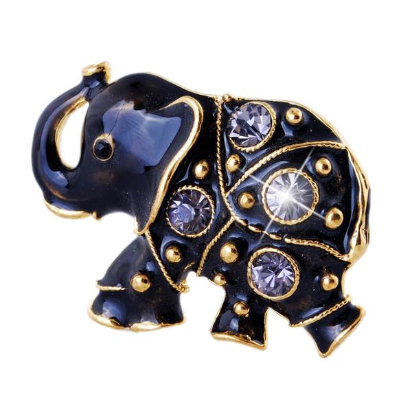 Rinhoo pequeño elefante negro Broche Rinestone animal Broche Para las mujeres dirección accesorios de la joyería