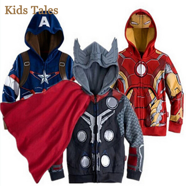 spring and autumn jacket for boys Spiderman Avengers Iron man jacket hooded children's warm zipper outerwear coat Factory Cheap Wholesale
