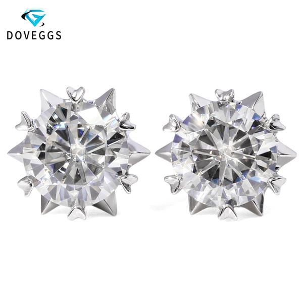 DovEggs 2ctw 6.5mm F farblose Moissanite Diamant Ohrstecker für Frauen echte 14K Weißgold Schrauben zurück Ohrringe