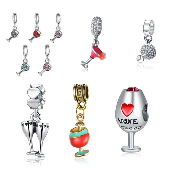 Caliente ! 6 Estilos Diamantes de Imitación Esmalte Copa de Vino Cálido Bebida Cuelga Granos Del Encanto en forma de Pulseras Europeas Al Por Mayor