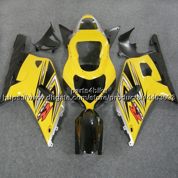 5Gifts + Custom ABS jaune carénage pour Suzuki GSX-R600750 2001 2002 2003 GSXR 600 R750 K1 kit en plastique de moto