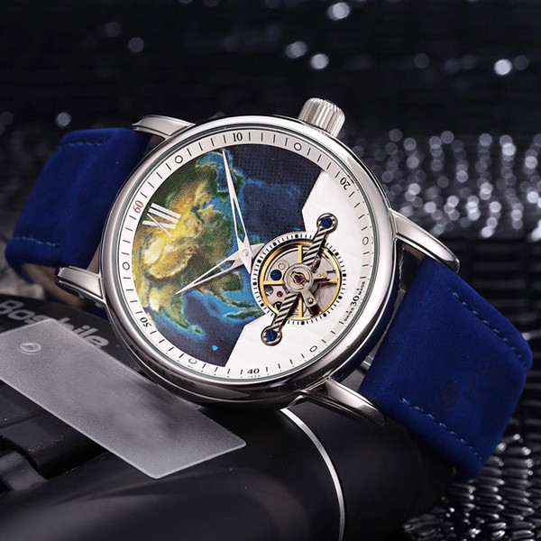 New Heritage Spirit U0112308 Steel Case World Map Starry Sky Observatory Space Dial Automatic Tourbillon Mens Watch Blue Leather Watches 1a1