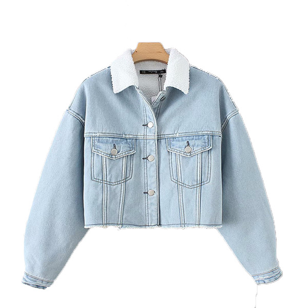 Casual Lamb Jean-Coton rembourré femmes manteaux 2018 Loose manches longues coréenne Denim Jacket femme, plus la taille manteau hiver survêtement