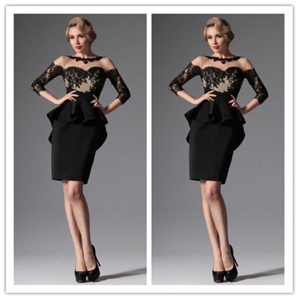 compre well Último diseño madre de la novia vestido corto negro