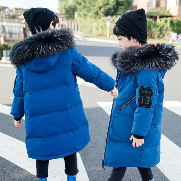 Großhandel Jungen Wintermantel 2018 Kinder Jacke Für Jungen Neue Natürliche Kragen Mit Kapuze Outwear Mantel Kinder Unten Gepolsterte Jugendliche