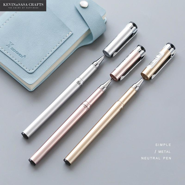 1Pc Metal Gel Pen Office Accessories School Stationery Writing Supplies Signature Pen Black Ink 0.5mm Neutral Rose Gold