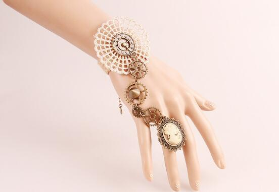 free new European and American fashion handmade bracelet with ring and lace watch accessories fashion classic delicate elegance