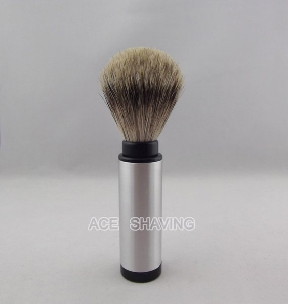 Stainless 100% Aluminium Alloy Handle Best Badger Hair Travel Shaving Brush Man Gift FREE SHIPPING